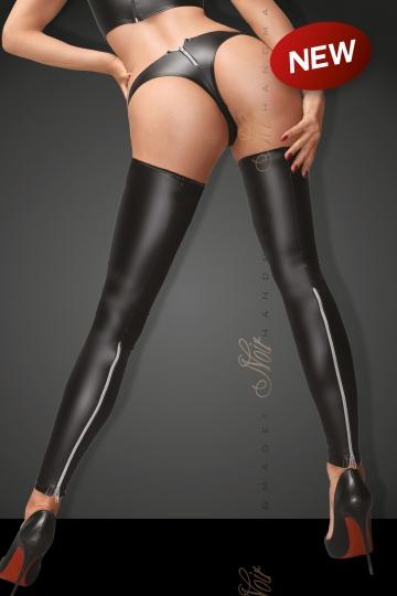 Set F163 Powerwetlook Stockings und Panties mit silbernem Reißverschluss
