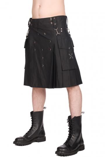 Black Pistol Button Kilt Denim