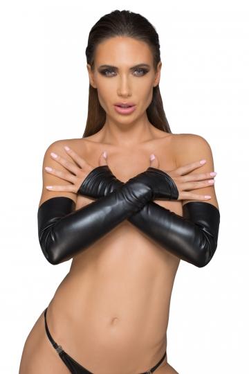 F213 Fingerlose Handschuhe aus elastischem Kunstleder