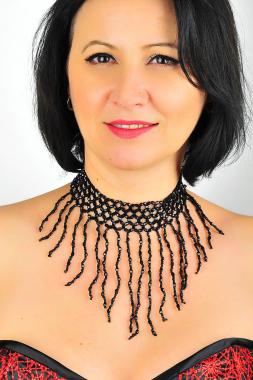Perlen Collier schwarz