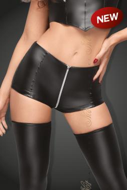 F164 High waist Powerwetlook Shorts mit Reißverschluss