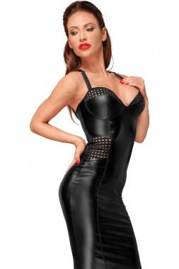 F180 Powerwetlook Kleid mit elastischen Einsätzen in der Hüfte und Brustbereich