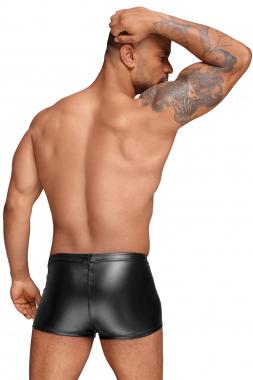 H054 Powerwetlook Shorts mit PVC Zierfalten