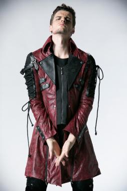 Herren Streampunk-Mantel rot