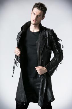 Herren Streampunk-Mantel schwarz