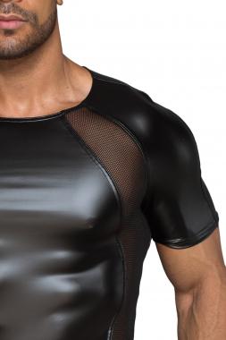 H056 Herren T-Shirt aus Powerwetlook mit 3D Netzeinsätzen
