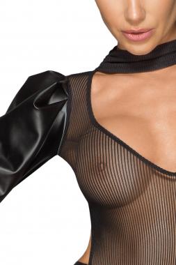F201 Powerwetlook- und Tüllkleid mit bauschigen Retro-Glamour-Ärmeln