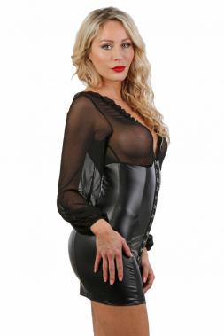 Kurzes Wetlook/Tüll Kleid schwarz