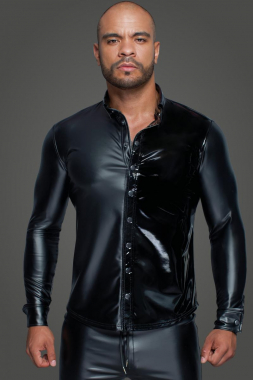 H064 Langärmliges Powerwetlook & PVC Shirt mit Knopfleiste