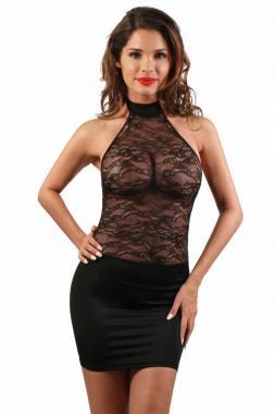Lycra-Kleid mit Spitzen-Decollete